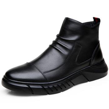 FXXG1936男士秋冬中帮加绒马丁靴真皮皮靴拉链保暖男靴