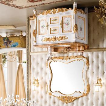 雅豪新款实木手工彩绘浴室柜欧式仿古雕花洗脸盆柜组合美式卫浴柜