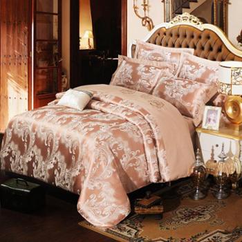 麦伦欧式绣花贡缎提花四件套1.8/2.0m床上用品纯棉被套全棉四件套