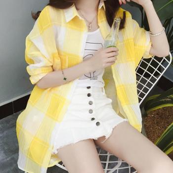 格子防晒衣女春夏装韩版中长款宽松棉麻衬衫百搭开衫薄款外套