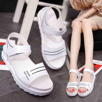 新款平底低跟平跟松糕跟厚底女凉鞋百搭韩版防滑女鞋学生鞋