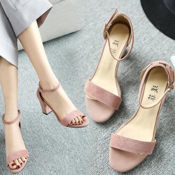 新款粗跟凉鞋女夏季百搭大码高跟鞋中跟一字扣带小码凉鞋露趾