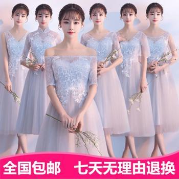 伴娘服新款韩版修身伴娘团姐妹裙灰色中长款伴娘礼服裙女毕业