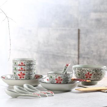 佰润居 釉下彩日式陶瓷餐具套装11头两人食