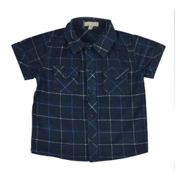 Midiross男童法兰绒时尚百搭格子短袖衬衫HSIJ1701003