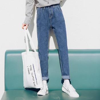 纤嫚韩版纯色高腰显瘦气质九分牛仔裤直筒裤