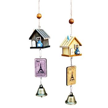 龙猫房子小木屋风铃木质创意风铃创意小礼品工艺品生日礼物挂饰(一个装,款式随机)