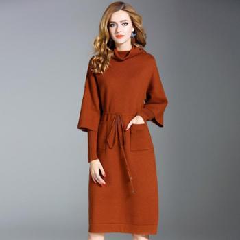 2017秋冬新款气质淑女高领针织连衣裙长袖纯色抽绳口袋中长款毛衣裙