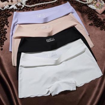 4条装少女女式平角裤安全裤女冰丝无痕腰头贴胶女士两用居家舒适打底内裤