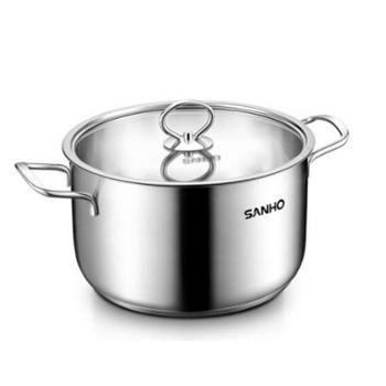 三禾(SANHO)汤锅304不锈钢锅煲20CM汤锅煮锅双耳炖锅加厚复底TGS2000-3