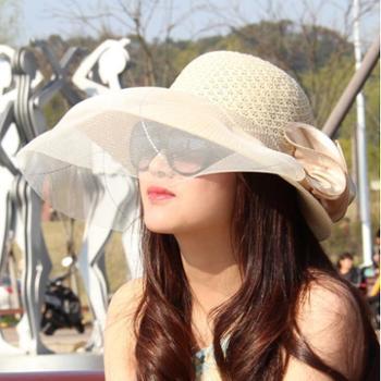大檐女韩版夏天镂空蕾丝网帽女士婚纱帽子透气大帽沿防晒遮阳帽
