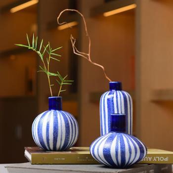 陶溪川景德镇创意青花蓝条纹花器艺术软装花瓶工艺摆设花插礼品摆件