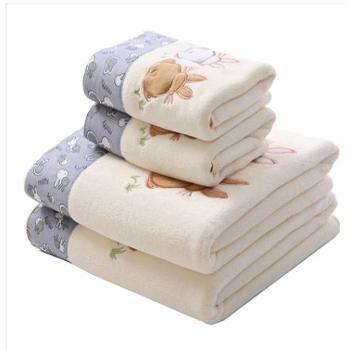 慕之风纯棉超强吸水大浴巾1浴巾+1毛巾