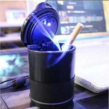 摆件汽车烟灰缸带灯LED 家车两用创意阻燃便携车载烟灰缸