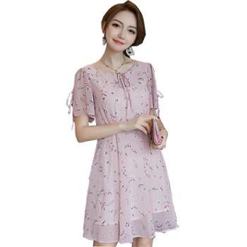 欧格菲夏季女装雪纺印花系带淑女气质连衣裙869