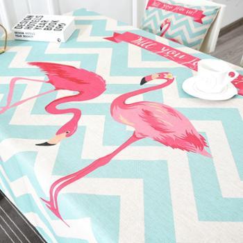 【包邮】火烈鸟系列加厚棉麻100*140桌布茶圆桌通用家用布艺盖布需要其他尺寸联系客服