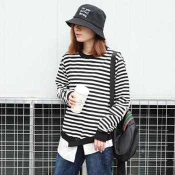 【包邮】日韩女装休闲条纹套头卫衣秋季女新品拼接不规则长袖上衣