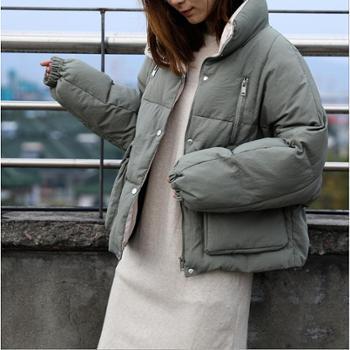 【时尚包邮】韩版chic秋冬爆款保暖棉衣女拉链拼色立领宽松棉服面包服