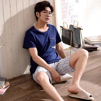 睡衣男士春夏季纯棉简约休闲运动格纹中裤圆领短袖全棉家居服套装
