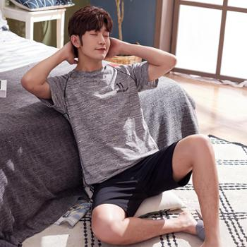 新品男士睡衣夏季纯棉短袖短裤花灰色青年运动休闲薄款家居服套装