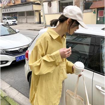 简约休闲慵懒范儿衬衫女宽松大口袋纯色长袖春装新款衬衣