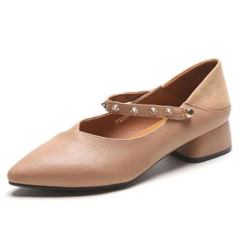 W尖头单鞋新款韩版一字扣玛丽珍鞋学生复古女鞋奶奶鞋女