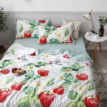 春夏爆新款小清新夏被空调被ins加厚水洗棉时尚夏凉被四件套床上用品