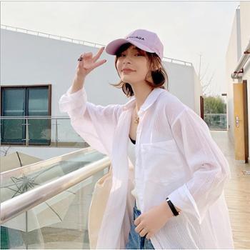 自制防晒衬衣 女2019春夏BF韩风竖条中长款长袖衬衫