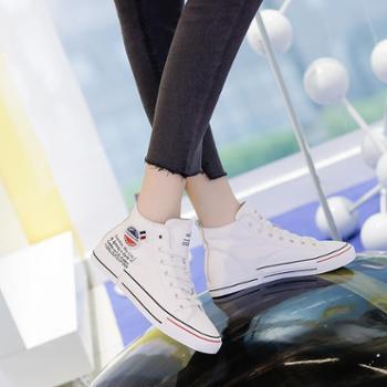 高帮系带真皮平底板鞋女网红小白鞋2019新款学生韩版休闲小皮鞋女