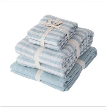 天竺棉四件套日式针织棉条纹被套床单床笠1.51.8米床上用品