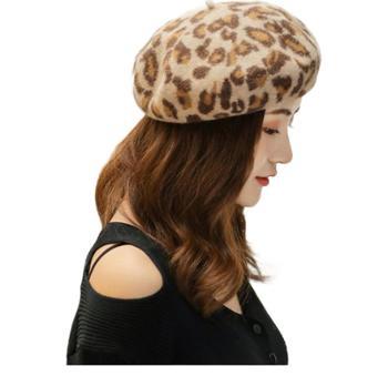 韩版帽子女豹纹羊毛贝雷帽秋冬保暖百搭画家蓓蕾帽英伦复古南瓜帽