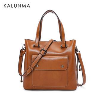 包包款手提包复古油蜡牛皮单肩斜挎包时尚女包