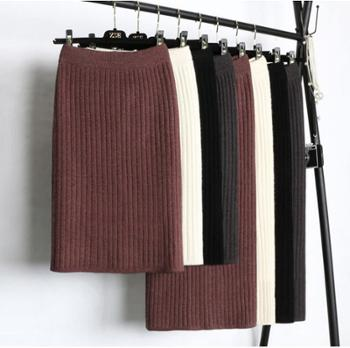 加厚开叉针织半身裙包臀一步裙女中长款秋冬款中裙毛线裙子