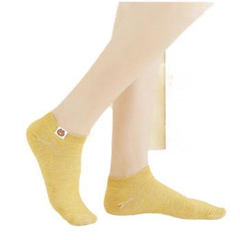 女士船袜 纯色200针小熊定标女袜浅口隐形棉袜子
