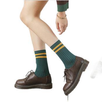 【五双装】秋冬女袜堆堆袜日系二条杠纯棉中筒袜 双针学院风女士堆堆袜子