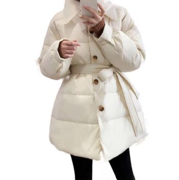 鹿西 白色收腰羽绒服女时尚白鸭绒保暖中长款冬季外套Y2