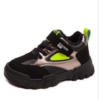 儿童加绒运动鞋秋冬季男童棉鞋加厚保暖老爹鞋女童童鞋子