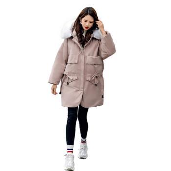 羽绒服女中长款冬季宽松加厚显瘦修身外套气质大毛领女装