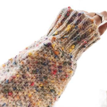鹿西马海毛彩色高领毛衣女秋冬外穿套头加厚糖果雪花麻花针织衫ss75