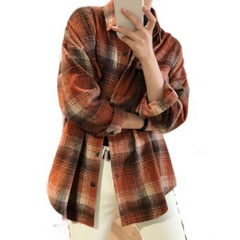 鹿西冬季加厚磨毛棉格子衬衫女慵懒宽松长袖网红衬衣外套981