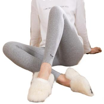 tnnt灰色螺纹纯棉刺绣九分裤脚口字母打底裤女外穿薄款打底裤