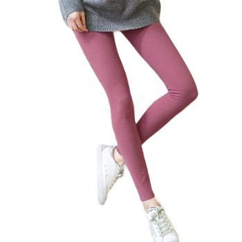 阳离子外穿打底裤韩版双面德绒大码裤子女纯色加肥小脚裤