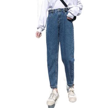 春装款牛仔裤女韩版时尚高腰显瘦老爹裤宽松哈伦九分萝卜裤