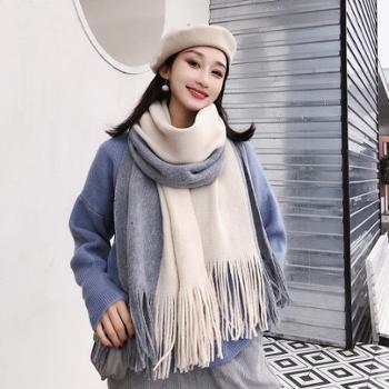 围巾女冬季百搭毛线针织情侣加厚韩版长款流苏仿羊绒学生条纹围脖WM62