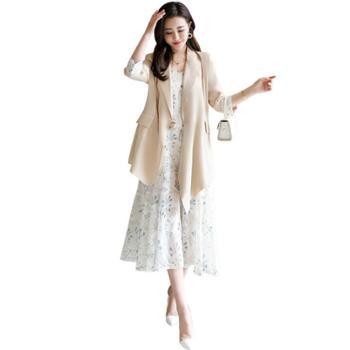 简湾西装连衣裙两件套时尚印花吊带裙小西服外套女