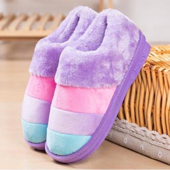 冬季彩条纹毛拖鞋情侣家居加厚保暖全包跟男女棉拖鞋