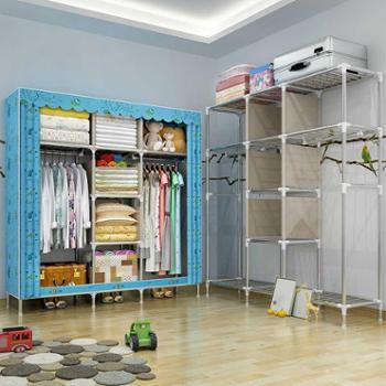 索尔诺非实木布衣柜大号遮光布简易衣柜钢管加粗加固25MM双人衣橱2571FA款