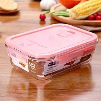 scybe喜碧高硼硅耐热玻璃密封盒饭盒便当盒玻璃保鲜盒微波炉加热400ml