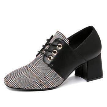 粗跟单鞋女新款时尚女鞋子百搭潮韩版方头高跟鞋皮鞋9082