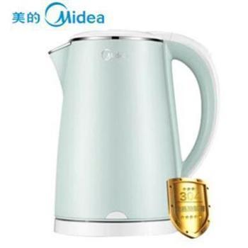 电水壶 Midea/美的 HJ1705A 电热水壶304不锈钢家用自动断电电烧水壶 浅绿色 美的电水壶/热水瓶